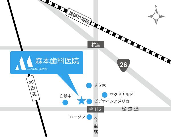 地図 | 大阪市東住吉区の歯医者 森本歯科医院